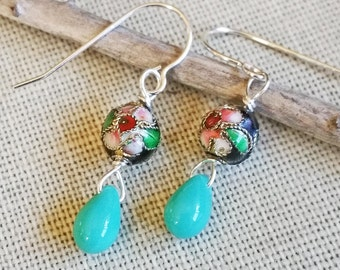 Black Cloisonne Beads and Turquoise Glass Dangle and Drop Earrings, Dangle Earrings, Women, Girls, Turquoise Earrings, Stocking Stuffer