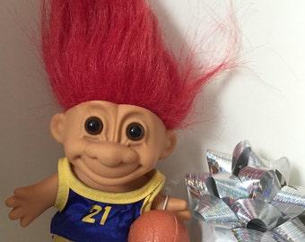"Russ Troll Doll Basketball Player 4"" in original blue and yellow uniform circa 1990"