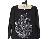 Sale Medium - Black Tri-Blend Sweatshirt with Crystal Print