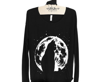 S,M,L,XL -Black Soft Flowy Long sleeve Top with Cat Moon Screen print