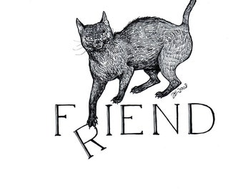 F(r)iend, original cat illustration by Johanna Öst