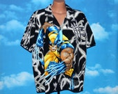 Wolverine All Over Print Button Up Short Sleeved XL Shirt