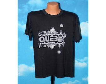 Quebec City Reflecion Black Tshirt vintage 1980s