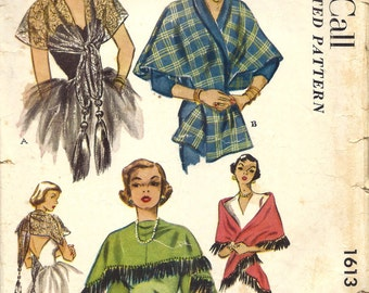 McCall 1613 - Vintage 1950s STOLES, SHAWLS & CAPES - Sewing Pattern - One Size Fits All