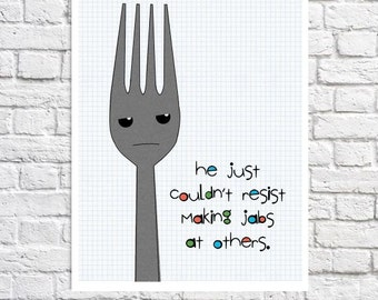 Kitchen Wall Art Kitchen Wall Decor Funny Kitchen Quote Sign Kitchen Gift Kitchen Picture Utensils Print Fork Illustration Kitchen Sayings