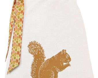 Organic block print squirrel apron