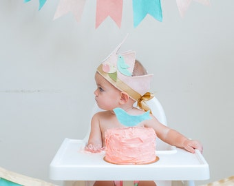 Girl First BIRTHDAY BUNTING - Shabby Chic pink & gold Flowers and Birds