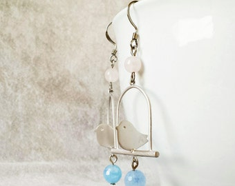Birds on a wire earrings, Rose Quartz Serenity Blue Bluebird Cage earrings, Gift for Best Friend, Birthday Gift, Gift for Daughter