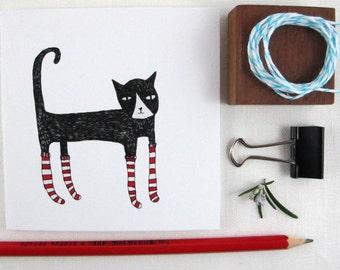 Christmas Card: Cat in Christmas socks