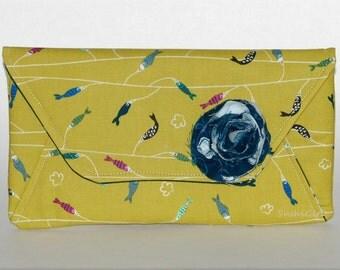 SALE Koi Envelope Purse - 25% Off, Secret Pocket, Colorful Fish, Koinobori, White Clouds, Blue Rose, Evening Bag, Japanese Fabric, Carp