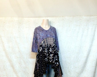 REVIVAL Women's Upcycled Boho Shirt, Shabby Chic Bohemian Hippie Romantic Junk Gypsy Style, Medium to Large, Recycled Repurposed EcoFriendly