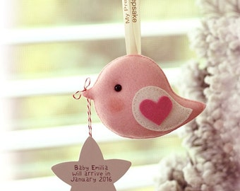 Pregnancy Keepsake Greeting Bird with writable star for personalized message, unique gift for new moms, motherhood memento, baby shower gift