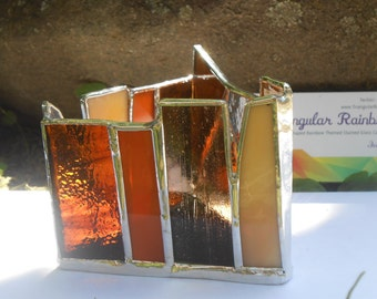 Amber Triangle Shaped Stained Glass Candle Holder Earthtone Nature Brown detox energy work frozen sunshine topaz conception Negative Energy