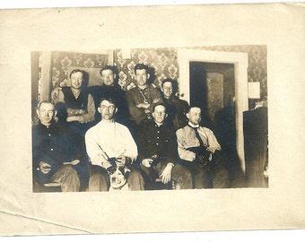 Vintage dog group wallpaper photo men antique silver gelatin jack russell