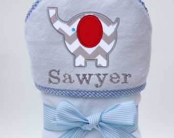 Personalized Hooded Towel Gray Chevron Elephant for Baby Boy or Toddler Boy