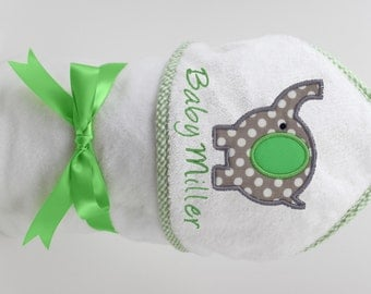 Personalized Hooded Towel Gender Neutral Elephant for Baby Girl or Baby Boy