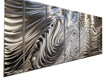 HUGE SALE! Large Multi Panel Wall Art in Silver, Contemporary Metal Wall Art,  Modern Wall Sculpture Decor - Hypnotic Sands by Jon allen