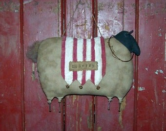 Rustic Sheep Doll, Primitive Door Hanger Sheep, Grungy Sheep, Primitive White Sheep, Americana Decor, Christmas Decor - Liberty/Merry