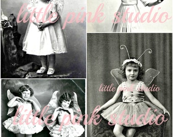 Little fairies #2  DIGITAL collage sheet, instant download