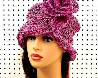 Summer Crochet Hat, Womens Hat, Womens Crochet Hat, Summer Hat for Women, Sun Hat, Crochet Flower, Pink Hat, OMBRETTA Cloche Hat