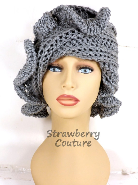 Gray Cloche Hat, Womens Crochet Hat, Crochet Womens Hat 1920s, Greybeard Gray Hat, Cynthia 1920s Cloche Hat with Ruffle