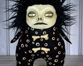 Creepy Voodoo Doll Clay Face Fur Hair Art Toy Stuffie Monster