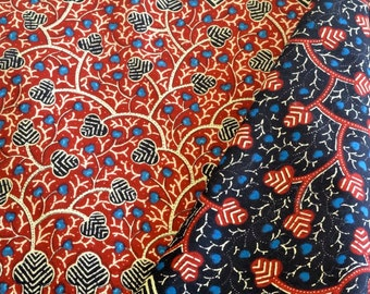 Dutch Print Fabric Java Hollandais Maroon Black Blue Beige Batik 3 yards