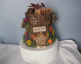 Fall Tree Stump Wedding Cake topper, table decor, Anniversary Cake Topper, Outdoor, fantasy, fairy, autumn, pumpkins, personalized