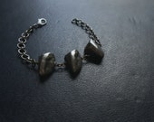 10 dollar vday sale - pyrite horn bracelet - edgy occult silver and gem stone jewelry - mens unisex jewelry