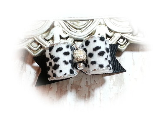 Show Dog Bow, Leopard Pet Bow, Fancy Dog Hair Bow, Black and White Bow, Pet Accessory