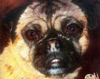 Pug Painting I Custom Dog Portraits I Pug Painting from Your Photo I Dog Portraits by NC