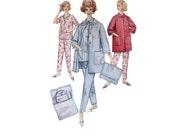 60s uncut Pajama Pattern vintage 34-26-36 quilted bathrobe bed jacket madmen cigarette pants