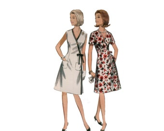 60s uncut Wrap Dress Pattern vintage 34-26-36 swirl DVF style vee neck A-line pockets madmen