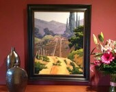 Road by the Fallow Field - 28 x 22 Inch Oil Painting of a Vineyard - Living Room Art - Wall Decor
