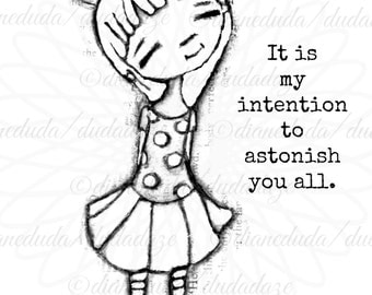 My Intention Inspirational Quote Digital Stamp - Printable - Art to Color by STUDIODUDAART