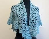 Crochet Lace Shawl Scarf Wrap Cowl, Stylish Comfort Prayer Meditation, Womens Fashion, Baby Alpaca, BlueGreen , FREE SHIPPING, Ready to Ship