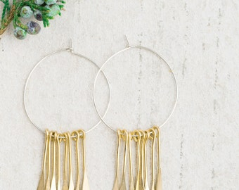 Silver and Brass Fringe Hoops, Gold Fringe Hoops, Tribal Hoops