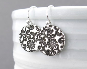 Sterling Silver Earrings Silver Flower Earrings Floral Jewelry Small Silver Drop Earrings Holiday Gift for Her Handmade Jewelry
