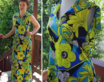 FLOWER Power 1960's 70's Vintage Lime Green + Blue Sleeveless Polyester MAXI Dress // size Medium Large