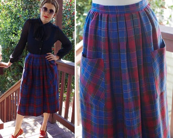 Deep BLUE 1970's 80's Vintage Red + Blue Plaid Wool 40's Style Skirt with Big Front Pockets // by Gabriel Francis // size Small W 26""