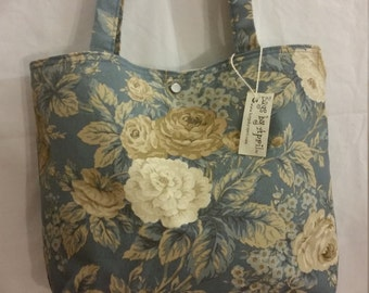 Blue Cottage Roses purse tote Bags by April SALE