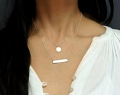 Bar Layered Necklace, Nameplate Gold Bar Necklace, Double Strand Necklace, Silver Layering Jewelry, Rose Gold Initial Circle Necklace