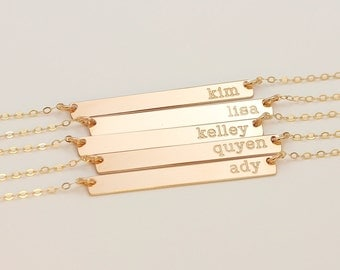 Long Gold Bar Necklace, Personalized Initial Skinny Bar Necklace, Dainty Nameplate Necklace, Horizontal Pendant Bar Necklace