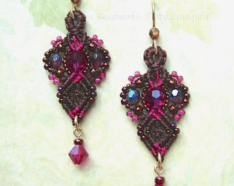 Macrame Earrings, Pink and Brown Bead Earrings, Beaded Macrame, Micro Macrame Beading, Classic style