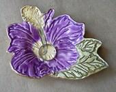 Ceramic Hibiscus  Ring holder dish Purple edged in gold