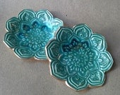 SALE TWO Lotus Ring dishes shower favors SECONDS Malachite Green edged in gold