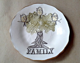 Ceramic Family Tree with 3 Birdies Ceramic  Trinket Bowl