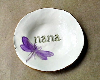 Ceramic Ring Holder Dish edged in gold NANA  Mothers day