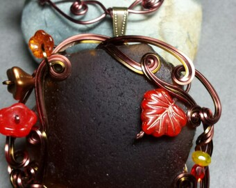 Autumn in Regalia Pendant with Optional Custom Freeform Wire Wrapped Neckwire