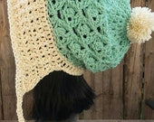 Mint green and Cream Gold Slouchy Hat